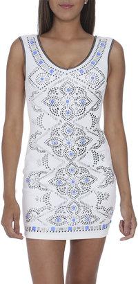 Arden B Silver Studded Bodycon Dress