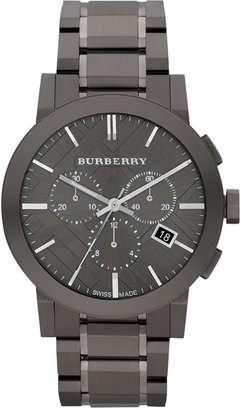 Burberry Watch, Men's Swiss Chronograph Gray Ion Plated Stainless Steel Bracelet 42mm BU9354 $895 thestylecure.com