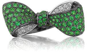 Mimi So Bow Mid Size 18k Oxidized Gold Tsavorite & Diamond Ring
