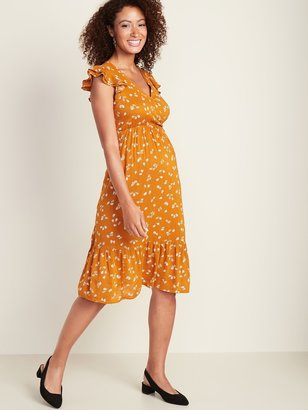 Old Navy Maternity Ruffle-Trim Wrap-Front Tiered Midi Dress