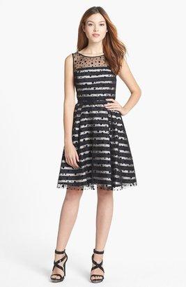 Eliza J Illusion Dot Stripe Fit & Flare Dress