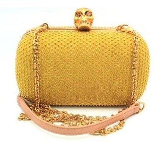 "Alexander McQueen 316426c8vz07"" Gold & Blush clutch Gold Skull Clasp"