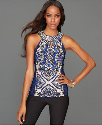 INC International Concepts Top, Sleeveless Rhinestone-Collar Exotic-Print