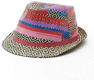 Mudd color-accent geometric straw fedora