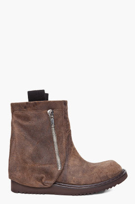 Rick Owens Brown Leather Pocket Boots