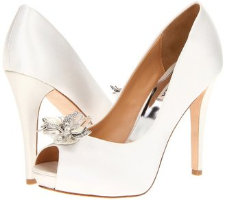 Badgley Mischka Cleone (White Satin) - Footwear