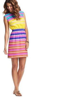 LOFT Ribbon Stripe Elastic Waist Dress