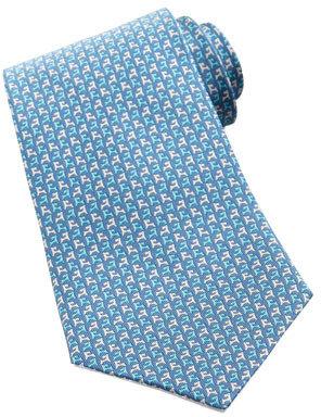 Salvatore Ferragamo Two-Tone Dog-Print Silk Tie, Blue/Turquoise