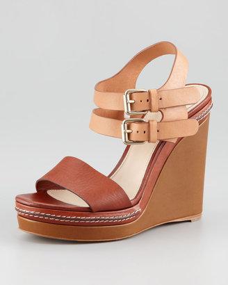 Chloé Double Ankle-Wrap Wedge Sandal