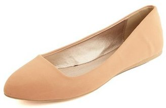 Charlotte Russe Nubuck Almond Toe Ballet Flat