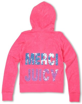 Juicy Couture Merci Juicy Micro Terry L/S Hoodie (Little Kids/Big Kids) (Passion Pink) - Apparel