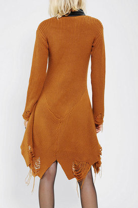 Urban Outfitters UNIF Vegan Leather-Collar Sweater Dress