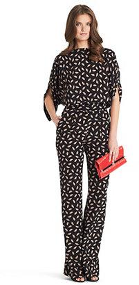 Diane von Furstenberg Lucy Printed Jumpsuit In Wing Dance Mini New Apricot