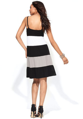 INC International Concepts Dress, Spaghetti-Strap Colorblock Empire-Waist