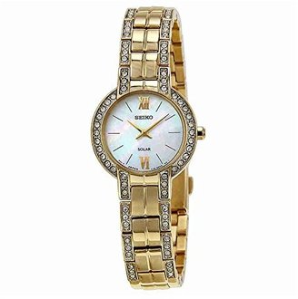 Seiko Women's SUP200 Dress Solar Modern Crystals Japanese Quartz Watch $300 thestylecure.com