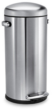 Simplehuman 30-Liter Retro Round Stainless Steel Step Trash Can