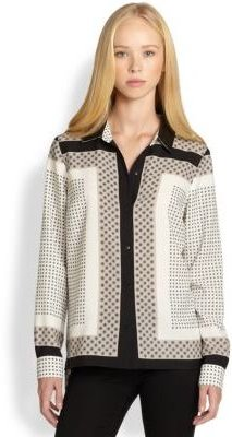 Patterson J. Kincaid PJK Bina Leather-Collared Scarf-Print Blouse