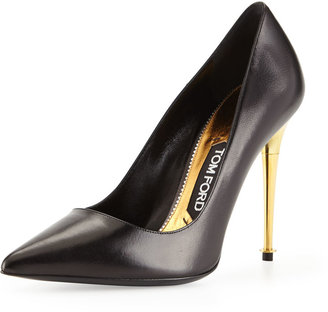 Tom Ford Leather Pointy-Toe Pump, Black/Gold