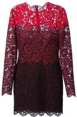 Valentino colour block lace dress