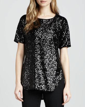Rachel Zoe Cecile Raglan-Sleeve Sequin Blouse, Black