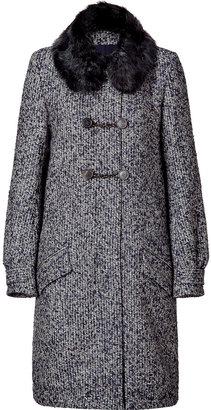 Vanessa Bruno Navy tweed coat with fur collar
