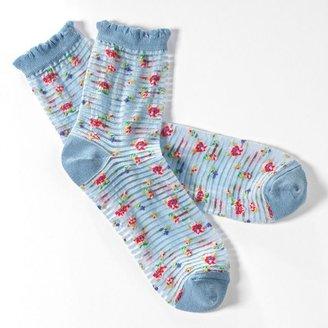 Vera Wang Simply vera sheer floral ruffled crew socks