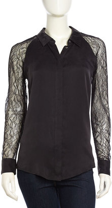 Equipment Quin Long-Sleeve Lace-Contrast Crepe Blouse, Black