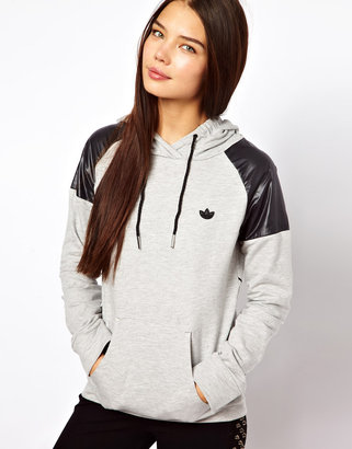 adidas Trefoil Hoodie With Faux Leather Shoulders