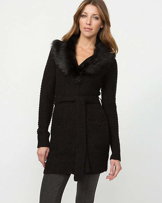 Le Château Faux Fur Collar Belted Cardigan
