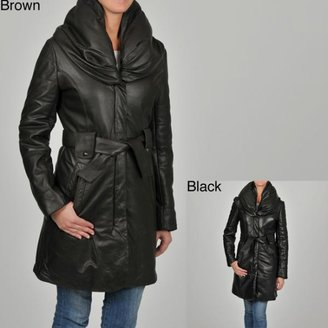 Knoles & Carter Women's Puff Collar Quilted Sleeves Belted Leather Coat $183.99 thestylecure.com