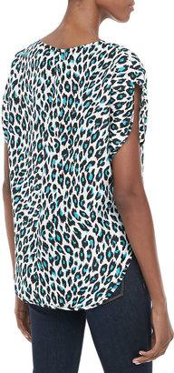 Milly Cheetah-Print Silk Top