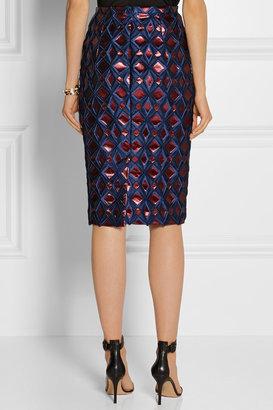 Burberry Metallic brocade pencil skirt