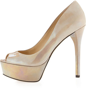Brian Atwood B by Bambola Patent Leather Platform Pump, Gray