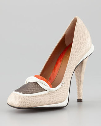 Fendi Stingray-Embossed Colorblock Loafer Pump
