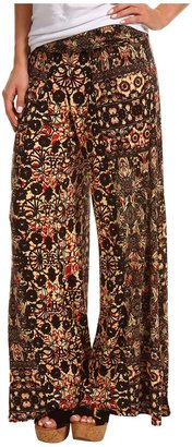 Free People Knit Wide Leg Pant (Orange Combo) - Apparel