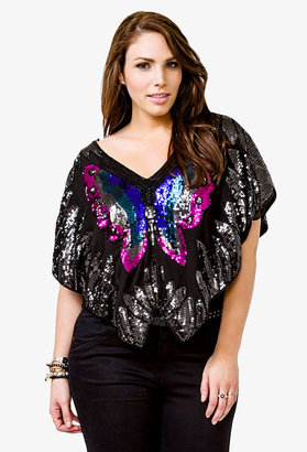 Forever 21 FOREVER 21+ Butterfly Sequin Top