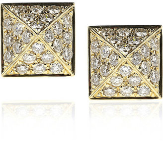 Anita Ko Pyramid 18-karat gold diamond stud earrings
