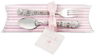 Mud Pie Mudpie Princess Spoon and Fork Set, Baby Girl
