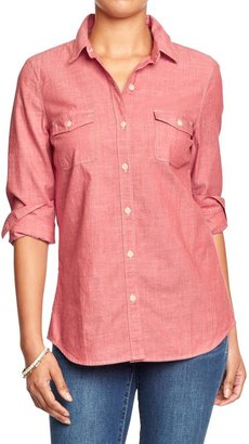 Old Navy Women's Red Chambray Shirts