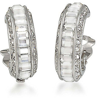 Carolee 40th Anniversary Outrageous Faux Crystal Baguette Hoop Clip-On Earrings