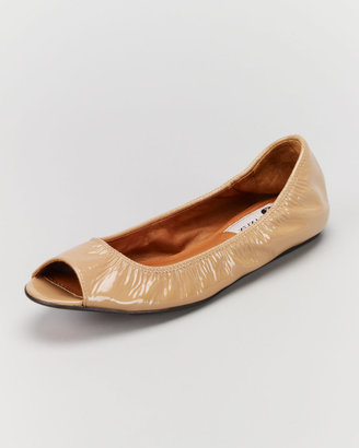Lanvin Peep-Toe Scrunched Patent Leather Ballerina Flat, Nude