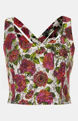 Topshop 'Wood Block' Print Crop Top (Petite)