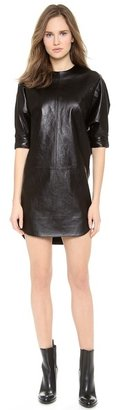 Alexander Wang Leather Dolman Sleeve Dress