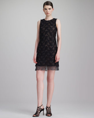 Vera Wang Guipure Lace Shift Dress, Black