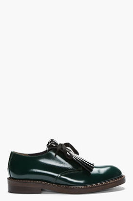 Marni EDITION Green patent fringed Derby Shoes