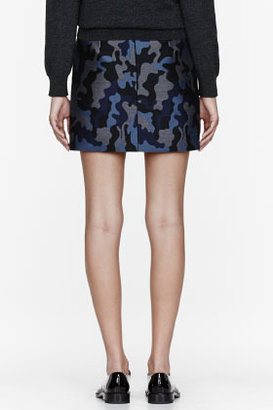 Christopher Kane Blue Silk Camo Pencil Skirt