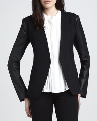Theory Leather-Sleeve Open Blazer