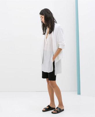 Zara Blazer With Turn-Up Sleeve