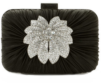 Jessica McClintock Rouched Satin Evening Clutch with Stones