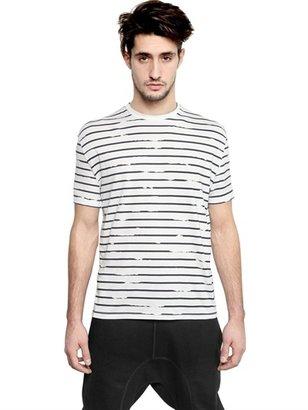 Neil Barrett Broken Stripes Printed Jersey T-Shirt